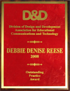 The AECT Outstanding Practice award presented to Dr. Debbie Denise Reese.